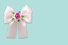 Pink ribbon on blue pastel background Stock Photos