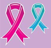 Pink Ribbon Blue Ribbon Stock Photos