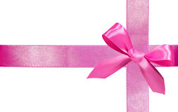 Pink ribbon with bow Stock Photo