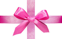 Pink ribbon with bow Royalty Free Stock Photos