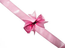 Pink ribbon with bow Stock Image