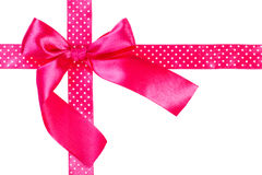 Pink ribbon and bow Stock Photos