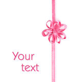Pink ribbon with bow-flower Stock Photo