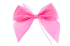 Pink ribbon bow. Stock Photos