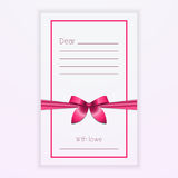 Pink ribbon bow on postcard Vector illustration Stock Photos