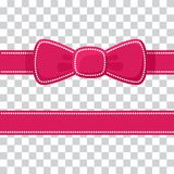 Pink ribbon with bow on transparent background. Vector stock illustration