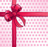 Pink ribbon and bow vector illustration Stock Images