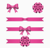 Pink ribbon and bow vector set for gift box Stock Photography
