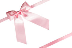 Pink ribbon bow on white Stock Images