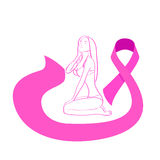 Pink Ribbon Breast Cancer Awareness Female Body Royalty Free Stock Images