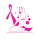 Pink Ribbon Breast Cancer Awareness Female Body Stock Photos