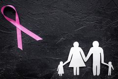 Pink ribbon for breast cancer awareness near paper silhouette of family on black background top view copyspace Stock Images