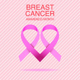 Pink ribbon breast cancer awareness symbol icon  illustrat. Pink ribbon breast cancer awareness symbol icon, isolated on pink background.  eps10 illustration for Royalty Free Stock Images