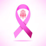 Pink ribbon breast cancer awareness symbol icon  illustrat. Pink ribbon breast cancer awareness symbol icon, isolated on pink background.  eps10 illustration for Royalty Free Stock Photo