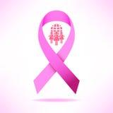 Pink ribbon breast cancer awareness symbol icon  illustrat Royalty Free Stock Photo