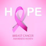 Pink ribbon breast cancer awareness symbol icon  illustrat. Pink ribbon breast cancer awareness symbol icon, isolated on pink background.  eps10 illustration for Royalty Free Stock Photography