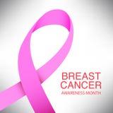 Pink ribbon breast cancer awareness symbol icon vector illustrat Royalty Free Stock Photo