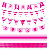 Pink ribbon. Breast cancer awareness symbol, isolated on white background. Breast Cancer set garlands, ribbons Stock Images