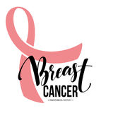 Pink ribbon, breast cancer awareness symbol. Vector illustration stock illustration