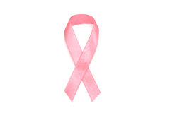 Pink ribbon for breast cancer concept isolated on white background Royalty Free Stock Photos
