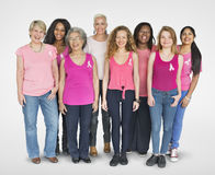 Pink Ribbon Breast Cancer Girls Feminine Copy Space Banner Conce Stock Image