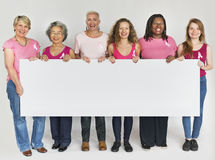 Pink Ribbon Breast Cancer Girls Feminine Copy Space Banner Conce Stock Photos
