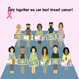 Pink Ribbon Breast Cancer. Money for the diagnosis Stock Image