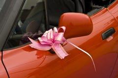 Pink ribbon on car Stock Photos
