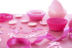 Pink Ribbon Charity Event Cupcake Preparation Stock Photos