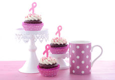 Pink Ribbon Charity for Womens Health Awareness Cupcakes. Royalty Free Stock Image