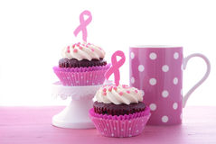 Pink Ribbon Charity for Womens Health Awareness Cupcakes. Royalty Free Stock Photos