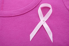 Pink Ribbon Charity for Womens Health Awareness Tee Shirt. Pink Ribbon Charity for Womens Health Awareness with a pink ribbon on a pink tee shirt with copy royalty free stock photos