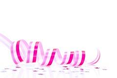 Pink ribbon and confetti Royalty Free Stock Image