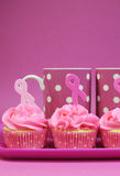Pink Ribbon cupcakes with pink polka dot coffee mugs - vertical Stock Photography