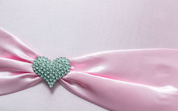 Pink ribbon and dimon Heart Stock Photography