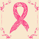 Pink ribbon. Doodle style. Vector illustration of pink ribbon. Doodle style Stock Photo
