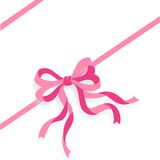 Pink Ribbon vector. Illustration of pink ribbon and bow isolated on white background + vector EPS file Stock Photos