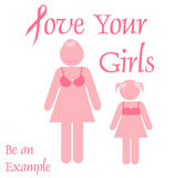 Pink ribbon example. Pink ribbon mother and daughter poster illustration Stock Photos