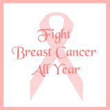 Pink ribbon fight. Breast cancer poster illustration Royalty Free Stock Images