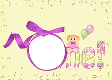 Pink ribbon frame for first brithday Stock Photos