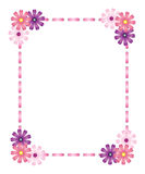 Pink ribbon frame with flowers Stock Photography