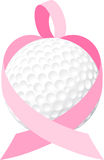 Pink Ribbon Golf Ball Heart Stock Photography