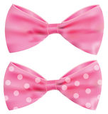 Pink ribbon with gorgeous bow. On white background Royalty Free Stock Photo
