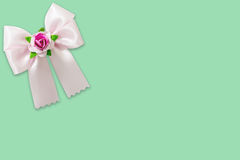 Pink ribbon on green background Stock Photos