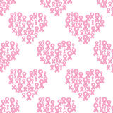 Pink ribbon and heart seamless pattern Stock Images