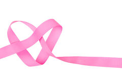 Pink ribbon in heart shape isolated Royalty Free Stock Photography