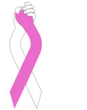 Pink Ribbon Holding Hands Stock Photos