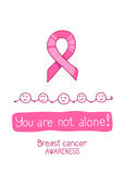 Pink ribbon, international symbol of breast cancer awareness. Vector hand drawn illustration. You are not alone Royalty Free Stock Photos