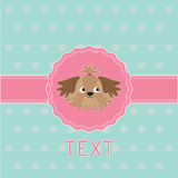 Pink ribbon and label with Shih Tzu dog. Card. Royalty Free Stock Photo