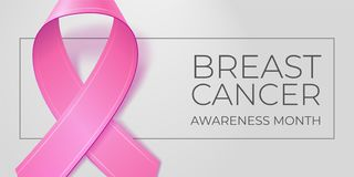 Pink ribbon on light gray background with copy space for your text. Breast cancer awareness month typography. Medical vector illustration